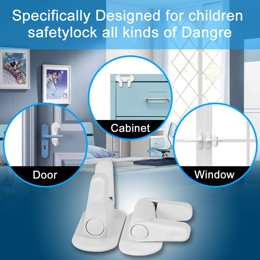 2 Packs Child Safety Proof Door and Hanldes 3M Adhesive Door Level Locks for Kids,Baby Proofing Cabinets