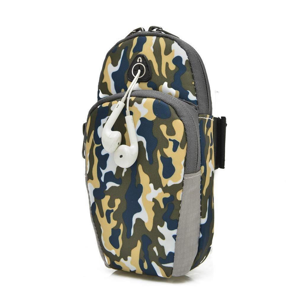 Boens Camouflage Style Running Wrist Bags with Earphone Hole, Arms Band Breathable Outdoor Run Bag Camping Hiking, Accommodate Your Cell 6 inches Phone, Cigarette, Cash, Keys, Wallet, MP3, etc-Yellow