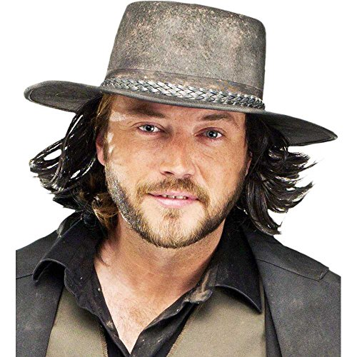 Gunslinger Wig with Cowboy Hat (Hats With Hair Attached)