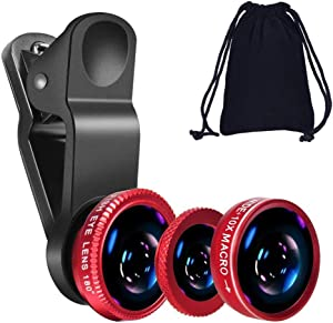 KINGMAS 3 in 1 Universal Fish Eye & Macro Clip Camera Lens Kit for iPad iPhone 8 7 6 Samsung BlackBerry and Most Smartphones