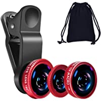 KINGMAS 3 in 1 Universal Fish Eye & Macro Clip Camera Lens Kit for iPad iPhone 8 7 6 Samsung BlackBerry and Most Smartphones