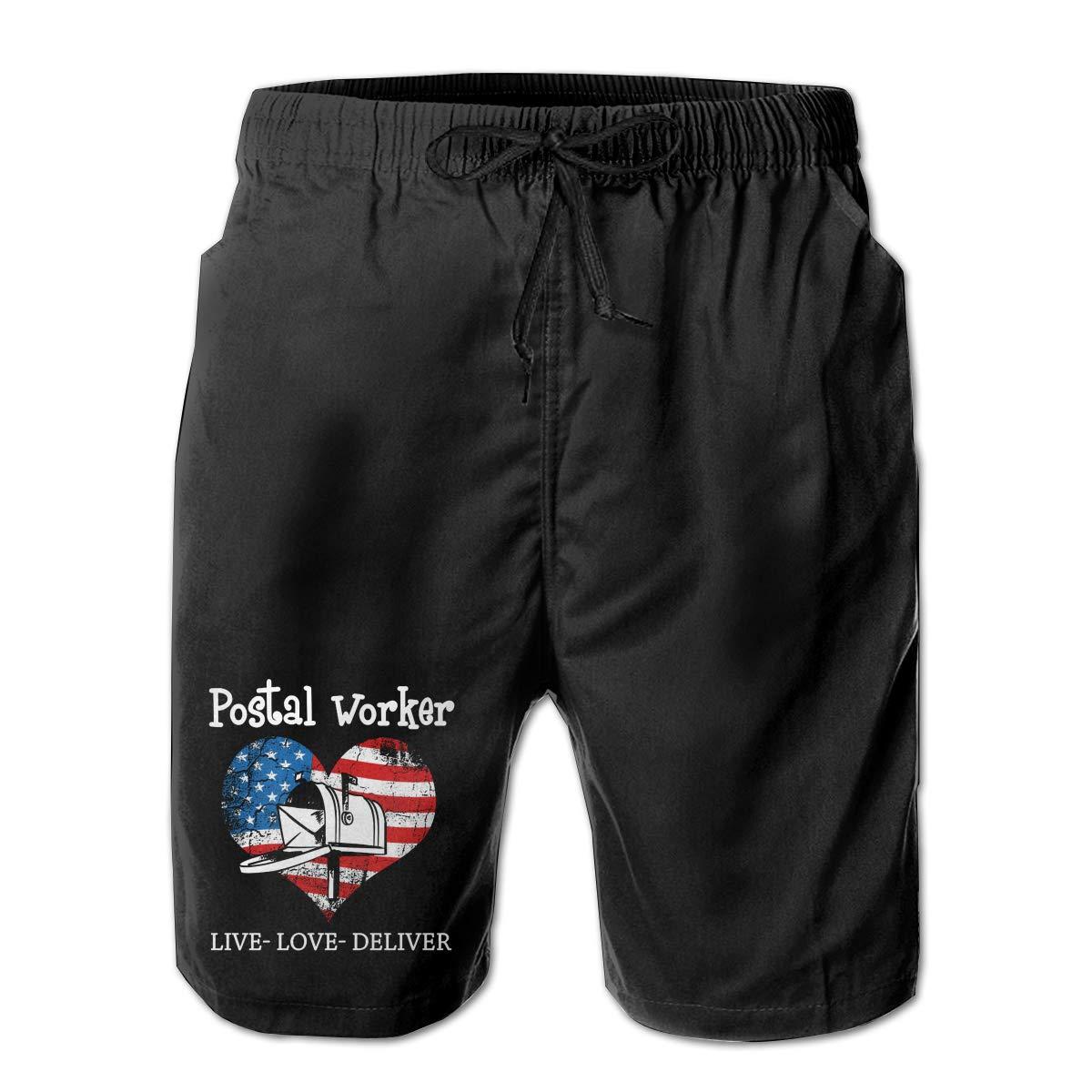 Monwe Postal Worker US Flag Mens Summer Casual Shorts,Beach Shorts Board Shorts