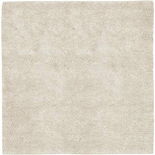 (Oakridge Shag Plush Solid 8' Square Square Shag 100% Wool - Felted Cream Area Rug)
