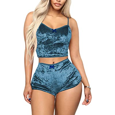 Womens Sexy Velvet 2 Pieces Romper Outfit - Spaghetti Strap Crop Top Camisole and Shorts Bottom Sleepwear Pajama Set at Women's Clothing store