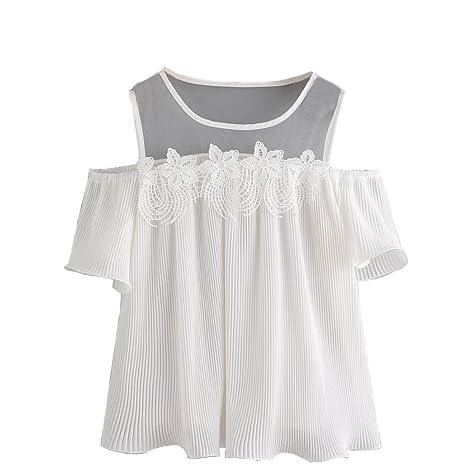 Yeamile💋💝 Camiseta de Mujer Tops Suelto Blusa Causal Camisetas Ocasionales Moda Blusa a Rayas de Manga Corta con Hombros Descubiertos y Blusa Casual ...