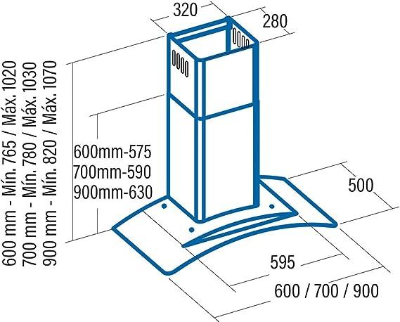 CATA - Modelo Gamma 900 extracción,Campana extractora Cocina 800m3/h-340m3/h, Acabado en Acero Inoxidable, 3 Velocidades: 198.44: Amazon.es: Grandes electrodomésticos
