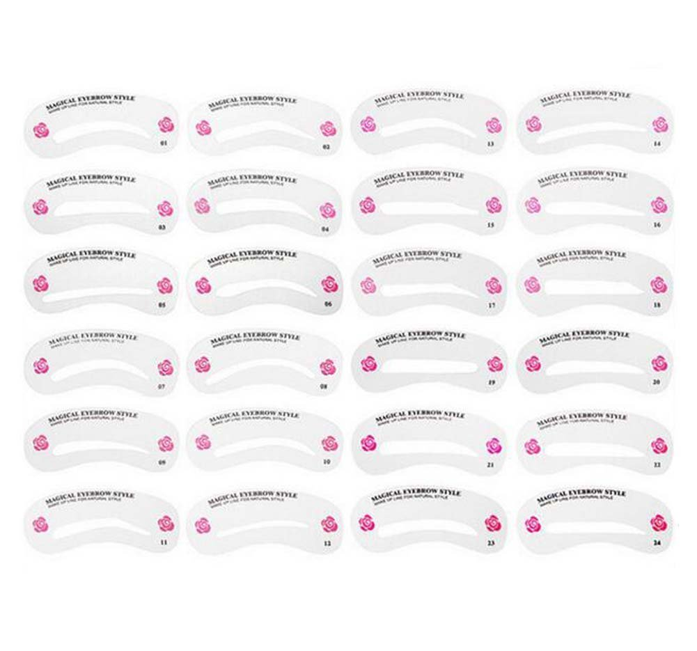 1Set(24 Styles) Eyebrow Grooming Stencil Card-Eyebrow Shaping Tools Templates DIY Makeup Beauty Accessories Elandy