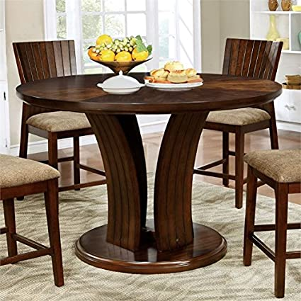 Counter High Round Table.Amazon Com Furniture Of America Luba Counter Height Round Dining