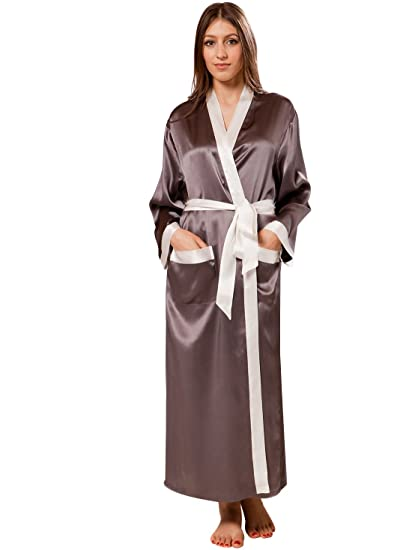 6d49bf7434 ElleSilk 100% Natural Silk Women s Dressing Gown Long