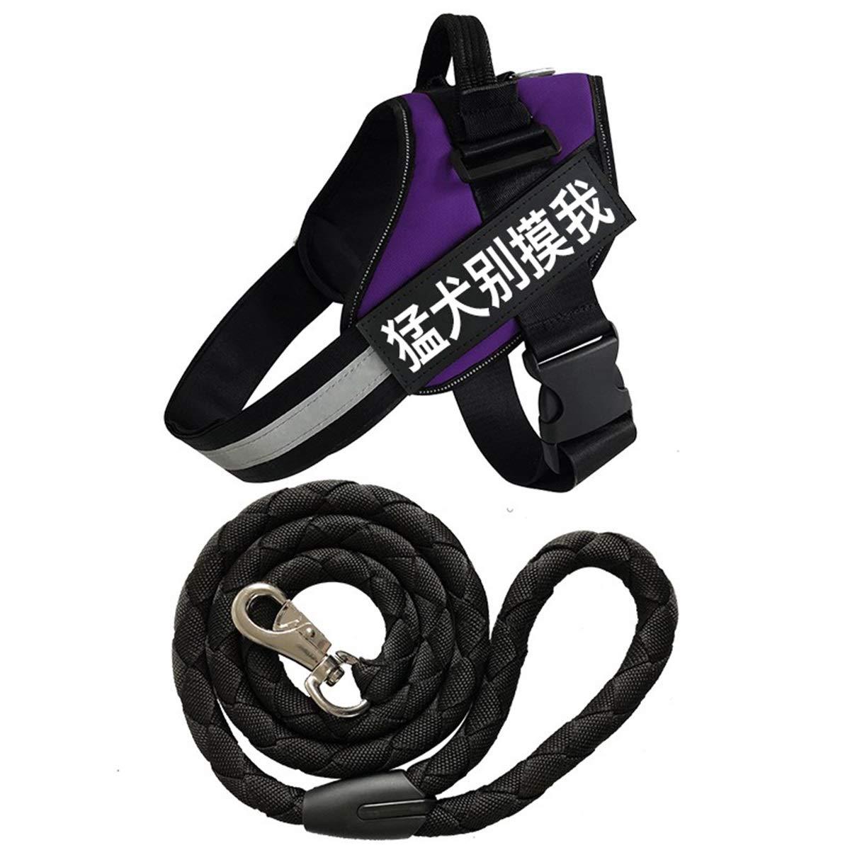 Purple S Purple S Vest-Style Mastiff Dog Leash, Labrador golden Retriever Small Medium Large Dog Chain, Chest Strap K9, Hand-Woven Rope, Vest Chest Strap 2 Piece Set, 6 colors, 6 Sizes Free to Choose