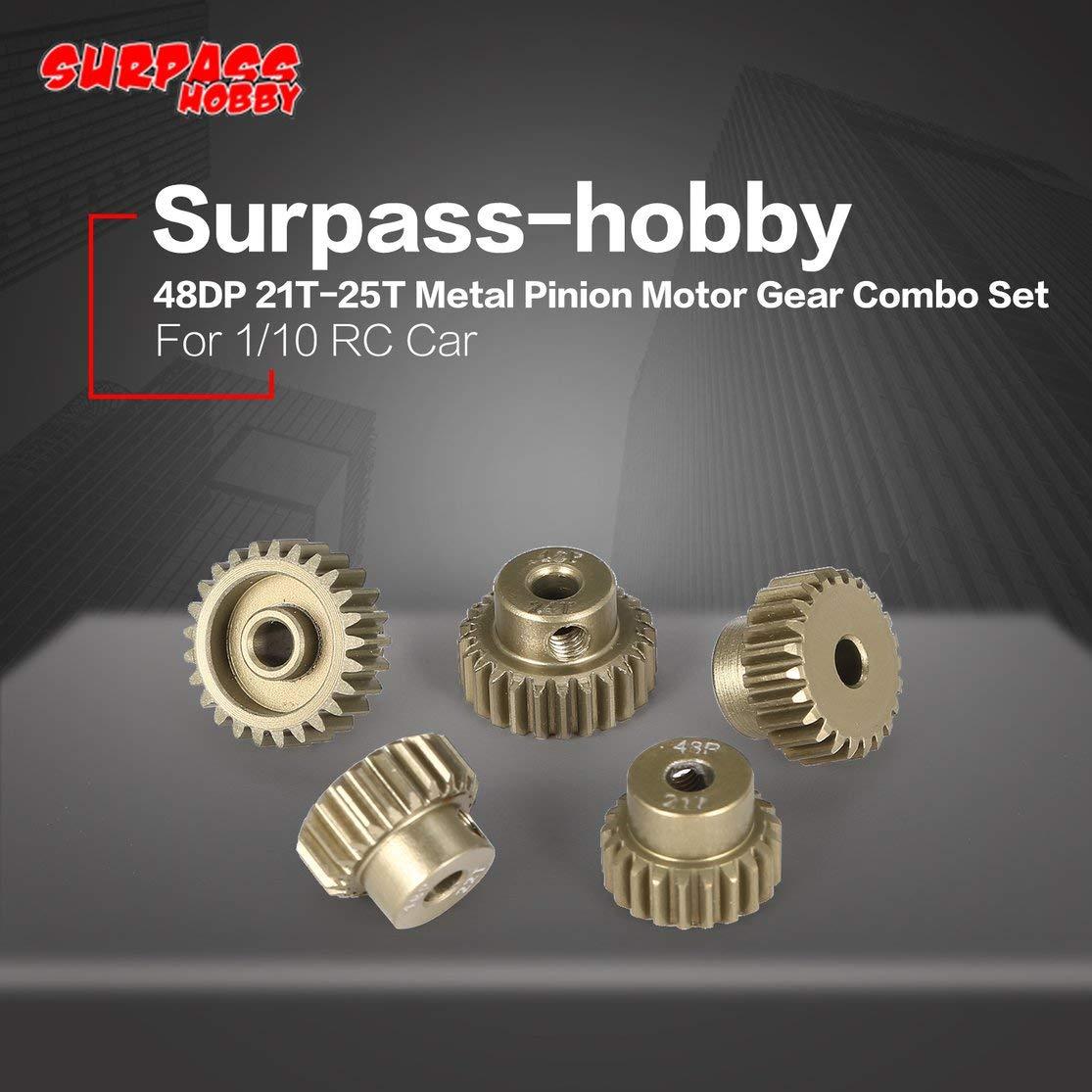 Color: Gris Kaemma Surpass-Hobby 48DP 5Pcs 3.175mm 21T 22T 23T 24T 25T Conjunto de Engranaje de Motor de pi/ñ/ón de Metal para 1//10 RC Car Brushless Motor
