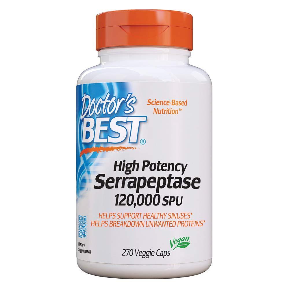 Doctor's Best High Potency Serrapeptase, Non-GMO, Gluten Free, Vegan, Supports Healthy Sinuses, 120, 000 SPU, 270 Veggie Caps by Doctor's Best