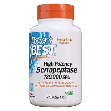 Doctor's Best High Potency Serrapeptase, Non-GMO, Gluten Free, Vegan,  Supports Healthy Sinuses,