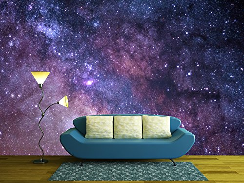 wall26 Cosmos Concept in Purple - Removable Wall Mural | Self-adhesive Large Wallpaper - 66x96 inches Outer Space Wall Mural