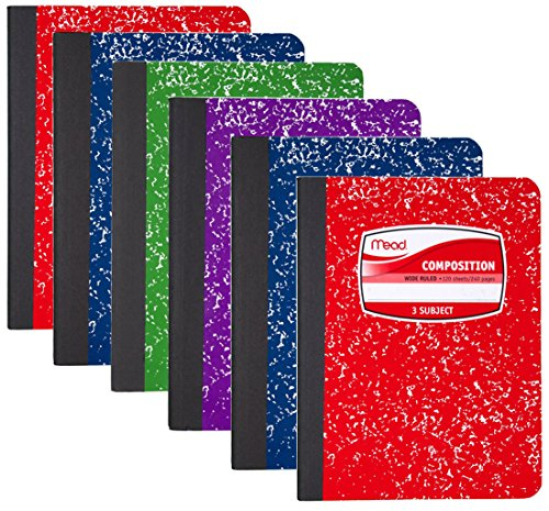 Mead Composition Book, 3 Subject, 120 Sheets, Wide Ruled, Assorted Colors, 6 - Assorted Rule