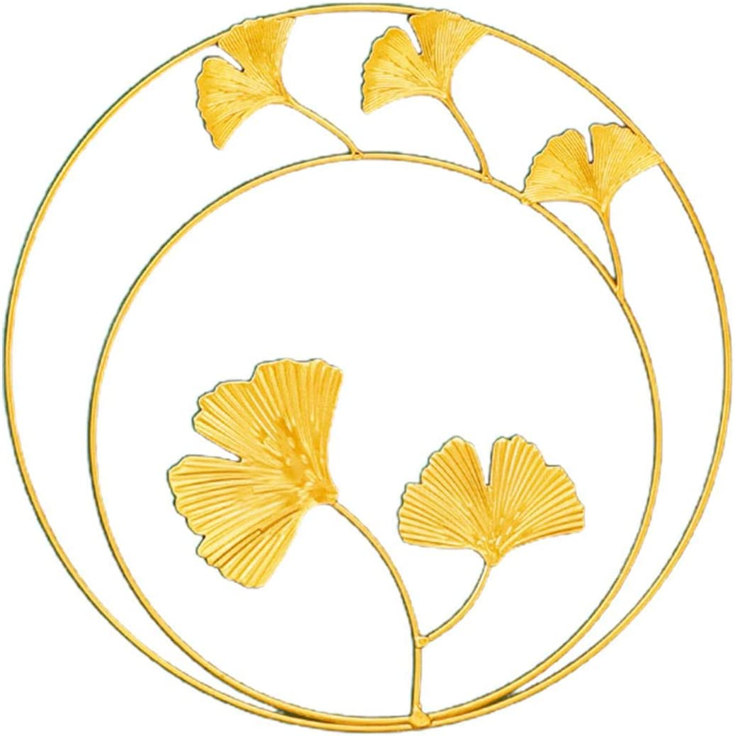 CALIDAKA Iron Wall Sculptures, Metal Round Wall Ornaments Gold Metal Leaf Wall Decor Home Office Wrought Iron Wall Ornaments Art Great for Bedroom Hanging Parts Hotel Wall Decoration