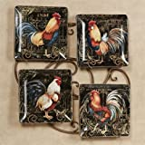 Certified International Gilded Rooster Dinner Plates Multi Earth Set of Four