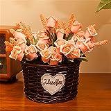 EXDJ Pure Handmade wicker flower basket round flower basket rattan wicker flower Pot Home Decoration,Black,16x11cm