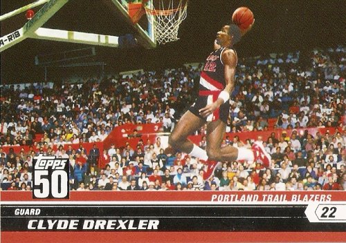 2007-08 (2008) Topps 50th Anniversary Limited Edition # 9 Clyde Drexler / Portland Trail Blazers / NBA Basketball Trading Cards in a Protective Screw Down Display - Cards 2008 2007 Trading Basketball