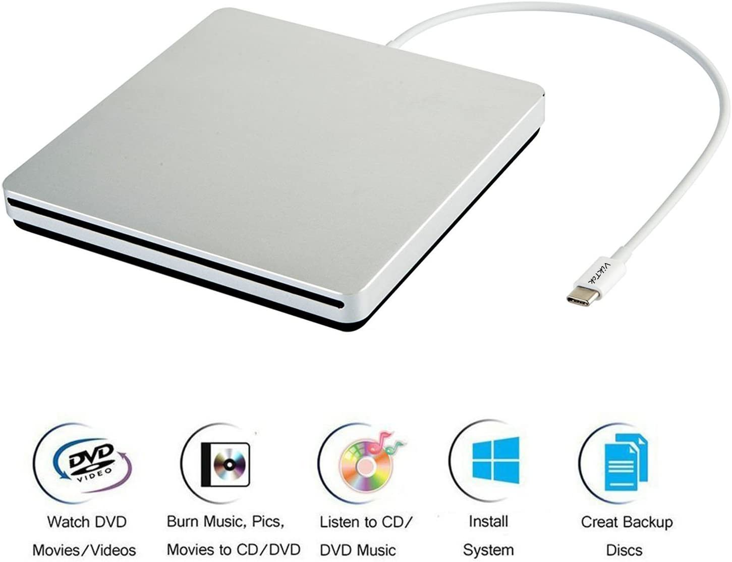 VikTck USB-C Superdrive External DVD/CD Reader and DVD/CD Burner for Apple-MacBook Air/Pro/iMac/Mini/MacBook Pro/ASUS/ASUS/DELL Latitude with USB-C Port Plug and Play(Silver)