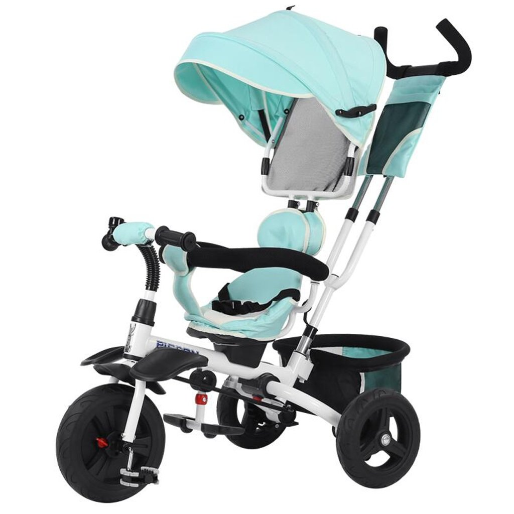 子供の三輪車1-5歳の赤ちゃん/子供ペダル自転車折りたたみベビーカー、青/紫/ピンク、75 * 50 * 103センチメートル ( Color : Blue ) B07BZNGSBV