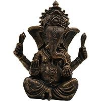 Prettyia Vintage Resin Ganesha Elephant Statue Buddhism Sculpture Handmade Figurine
