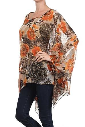 huge discount 31f3e 420ea Kimono Bluse Abend-Bluse Tunika Shirt Sommerbluse Überwurf Stola Chiffon in  vielen bunten Farben - Einheitsgröße One Size, auch für große Größen