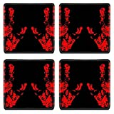 MSD Square Coasters Non-Slip Natural Rubber Desk Coasters design 32913699 Bloody Hand Trace for your design