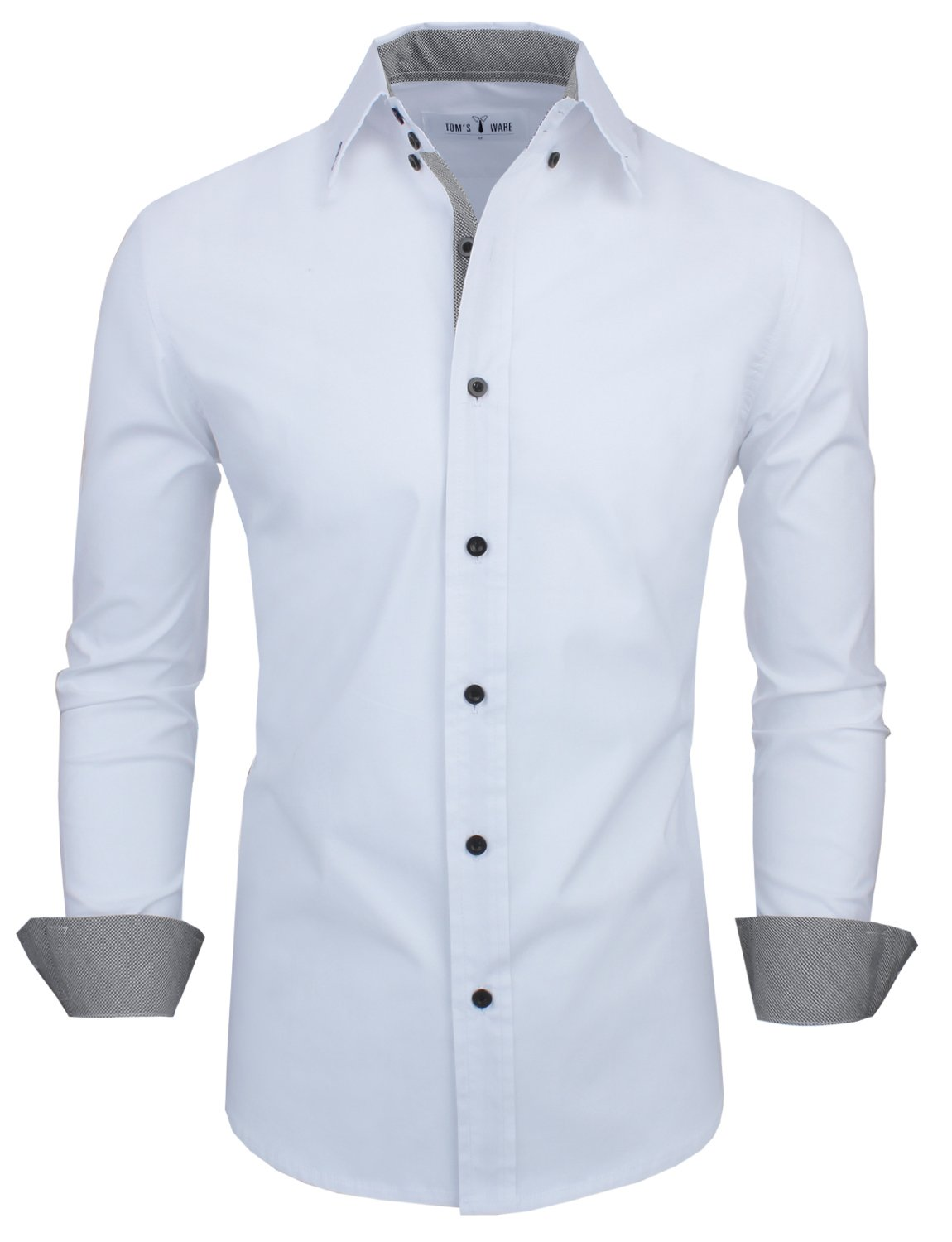 Tom's Ware Mens Classic Slim Fit Contrast Inner Long Sleeve Dress Shirts TWNMS314-1-317-WHITE-US L
