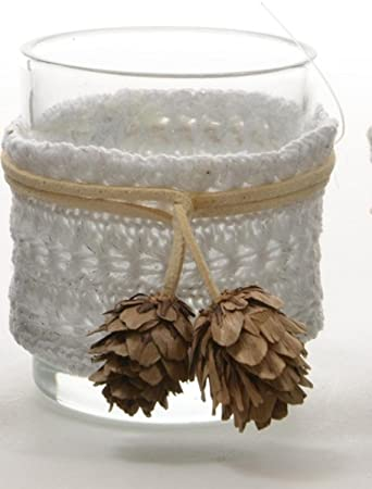 325 winter light white fabric wrapped glass votive candle holder christmas decoration