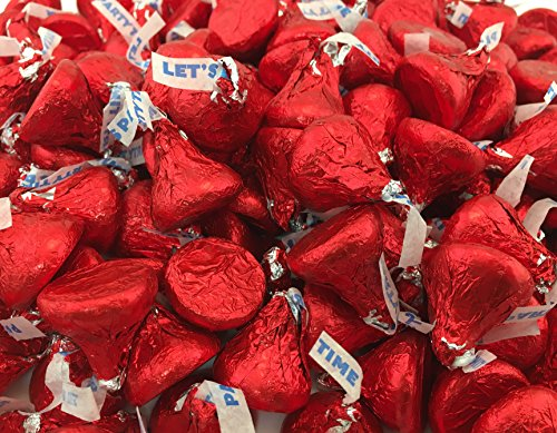 LaetaFood Bag - Hershey's Kisses Milk Chocolate Party Candy, Red Foil (Pack of 2 Pounds) ()
