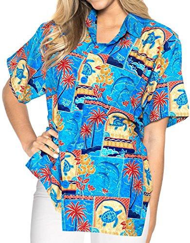 Hemdkragen Bluse oben kurzen �rmeln Button unten hawaiianischen Strand xxl verschleiern