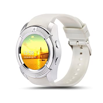 PINCHU V8 Bluetooth Relojes Inteligentes 1.22 Pulgadas Ronda Smartwatch Fitness Pulsera Cool Reloj Smart-Watch