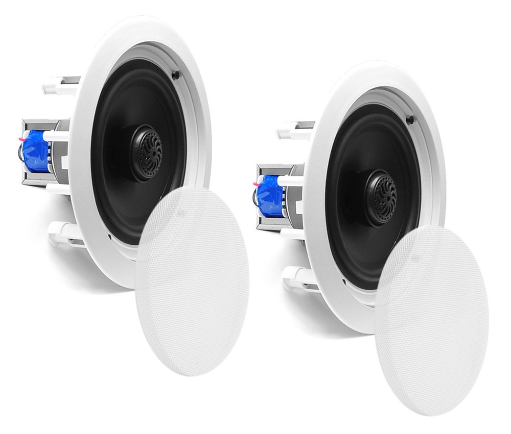 65 Ceiling Wall Mount Speakers Pair Of 2 Way Midbass A Center Speaker And Two Surround Powered Woofer 70v Transformer 1 Titanium Dome Tweeter Flush Design W 65hz 22khz