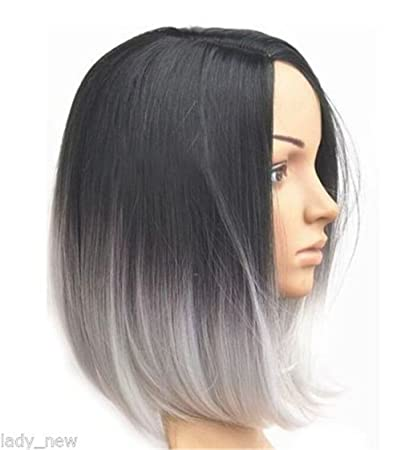 New Arrival Hot Fashion Short Straight Ombre Balayage Short Bob Full Head  Wig Center Parting Not Lace,front