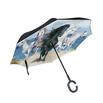isaoa un paraguas grande puede paraguas resistente al viento paraguas plegable de doble capa construcción invertido