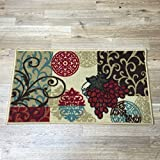 gel kitchen mats uk Maxy Home Cucina Grapes 3 ft. 3 in. x 5 ft. Kitchen Area Rug
