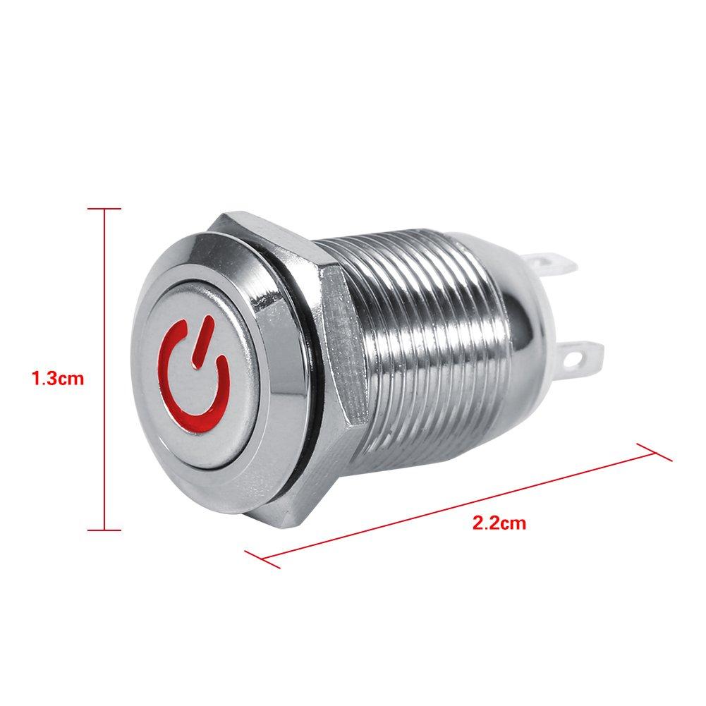 Qiilu 12mm LED Power Druckschalter Wasserdicht Metall Momentary Typ ...