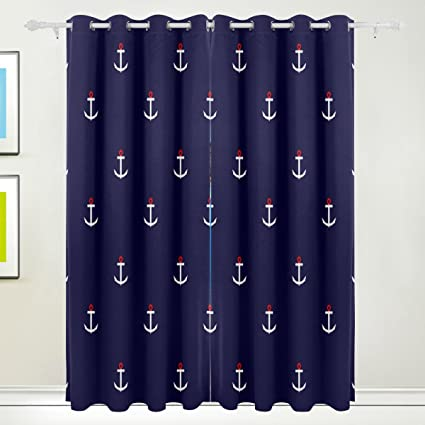 La Random Abstract Nautical Anchor Window Curtains Blackout For Bedroom Living Room Home Decor Single