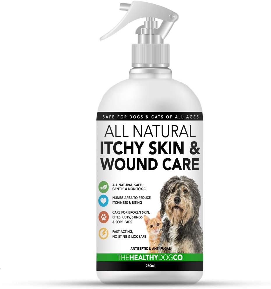 Spray completamente natural para el cuidado de la piel con comezón y de heridas para perros y gatos | Alivio de la comezón y cuidado de la piel | Tratar la picazón, la piel agrietada y las heridas