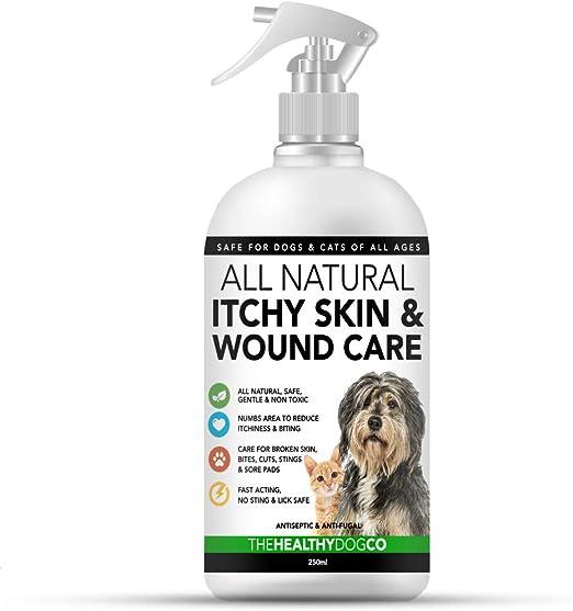 Spray completamente natural para el cuidado de la piel con comezón y de heridas para perros