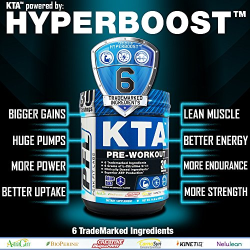 KTA Pre Workout with HyperBoost for Big Gains, Huge Pumps, Muscle and Strength, KTA Pre Workout has 6 Trademarked Ingredients for Intensity, Ultimate Gains, Stamina, and Power, Blue Raz 30 Servings