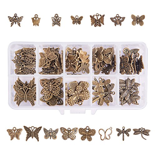 PH PandaHall 90pcs 15 Style Antique Bronze Tibetan Alloy Butterfly Dragonfly Charms Animal Pendants Beads Charms for DIY Bracelet Necklace Jewelry Making]()