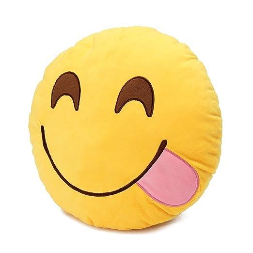 Emoji Pillow Cojín emoji Emoticon sonriente amarillo redondo almohada de peluche de juguete de peluche suave (Hambriento - Hungry)