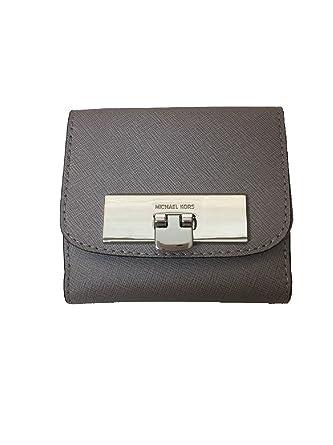 a51d24302365 ... Michael Kors Womens Callie Trifold Coin Case Wallet Pearl Grey ...