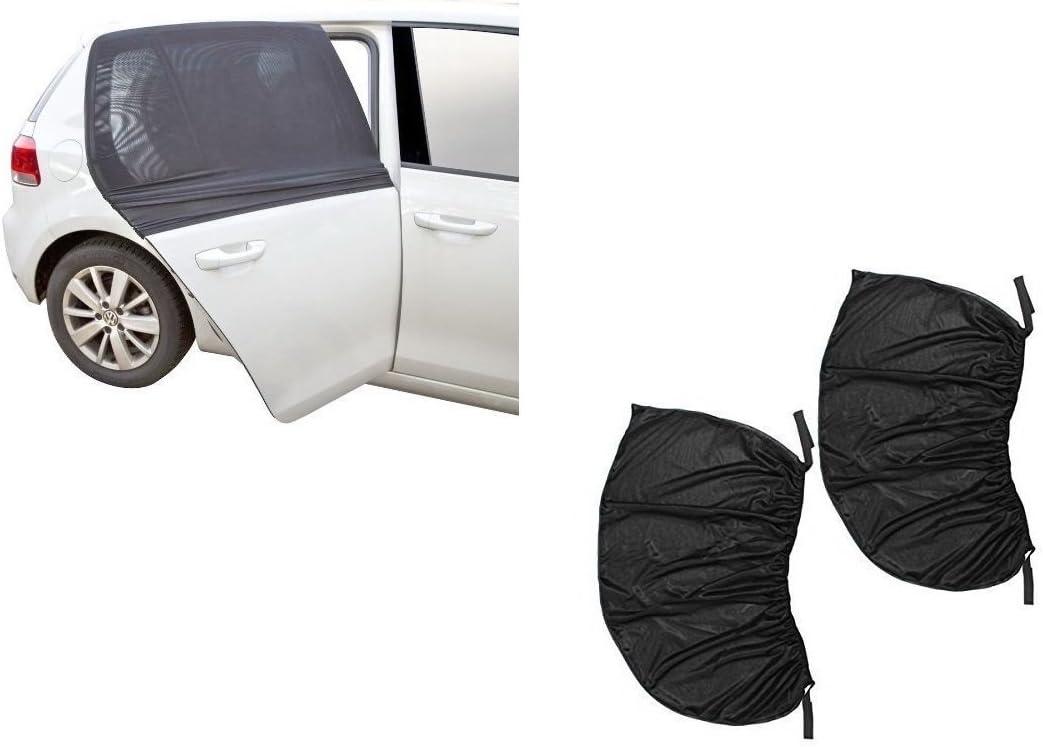 2 piezas de parasol para ventanas de coche con protección UV para insectos de bebé, ajuste universal, ajustable, parasol transpirable, cortinas de malla para coche, antimosquitos, mosquitos, mosquitera para ventana, puerta trasera