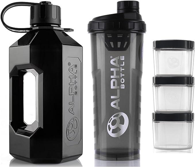 Alpha Bouteille 2 litre XXL Bouteille deau Carafe + 1 litre de protéine BCAA Shaker + Complément alimentaire de stockage Pods (lot de 3)