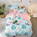 BHUSB Palm Leaves Print Duvet Cover Set Queen Soft Cotton Reversible Blue Pink Bedding Sets Full for Kids Girls Rainforest Bedding Collection Comforter Cover Full 3 Piece Set
