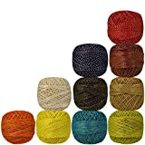 Pack of 10 Pcs Thread Variegated Knitting Metallic Multicolor Yarn Tatting Doilies Cotton Crochet Assorted Skeins Lacey Craft