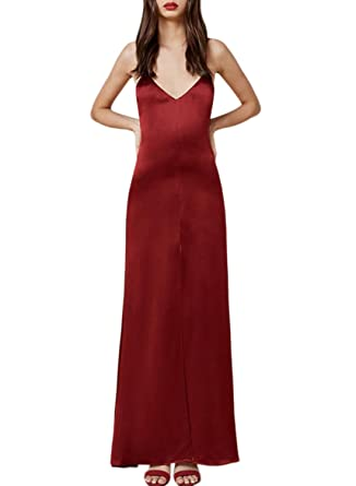 Azbro Womens Spaghetti Strap High Slit Solid Maxi Prom Dress, Red XL